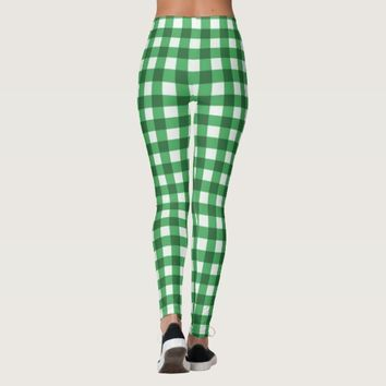 Green and White Gingham Classic Checked Pattern Leggings