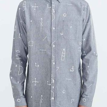 Lazy Oaf White Lines Button-Down Shirt- Grey