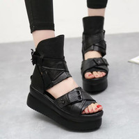 2017 spring summer women Genuine Leather Platform shoes Wedges sandals fish head high heels high-top Roman female cool boots