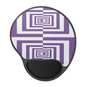 Purple and White Modern Geomertrical Pattern Gel Mouse Pad