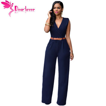 Jumpsuit Long Pants Overalls Dear Lover 2016 Women's Fashion Red V Neck Belt Embellished Elegant Playsuit Lady Work Wear LC64003