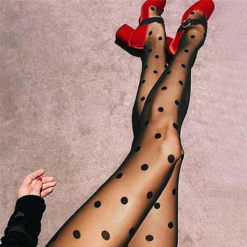 Women New Tights Classic Polka Dot Silk Stockings Ladies Vintage Faux Tattoo Round Dot Stockings Pantyhose Female 2018