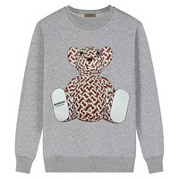 Burberry New fashion bear more letter print couple long sleeve top sweater Gray