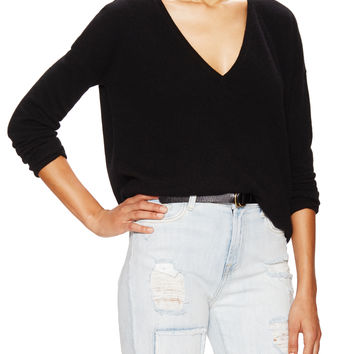 Barrow & Grove Women's Danielle Cashmere Boyfriend Sweater - Black