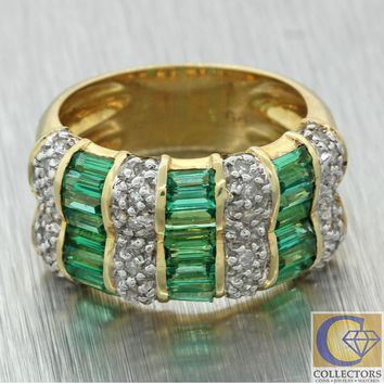 Vintage Estate 14k Yellow Gold 2.25ctw Emerald Diamond 10mm Wide Band Ring