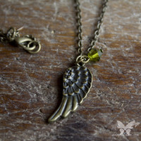 Antiqued Brass Petal Wing Necklace w/Swarovski Accent from A Single Dream