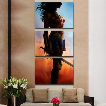 3 Pieces Movie Wonder Woman Wall Art Picture