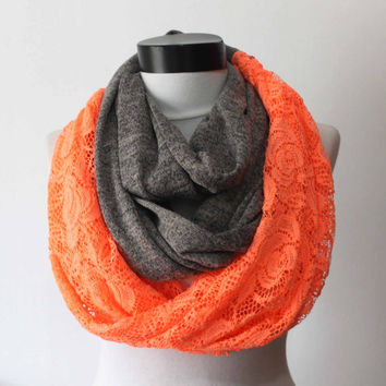 gray lace scarf,long scarf,scarves,infinity scarf,scarf,