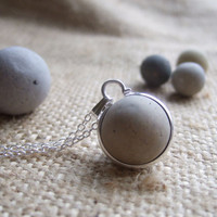 Purist Victorian clay sea marble necklace...sea clay marble necklace, bezel set beach marble, silver sphere marble on sterling silver chain