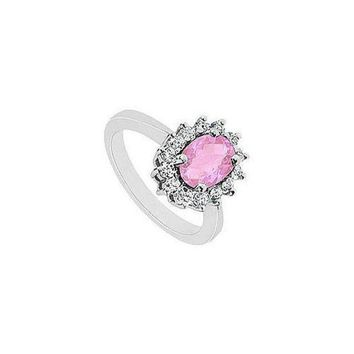 MDIGMS9 Pink Topaz and Diamond Ring : 14K White Gold - 1.50 CT TGW