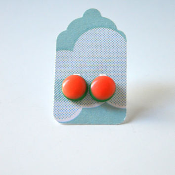 Stud Earrings - Hot Coral and Green Earrings - Tiny Stud Earrings - Post Earrings - Colorful Earrings - Handmade Enamel Studs