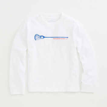 Boys Long-Sleeve Lacrosse Stick Graphic T-Shirt