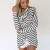 Black and White Cowl Neck Long Sleeve Striped Top