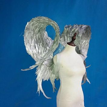 Unique Silver Gold Feather Cosplay Wings Wedding Photography Events Party