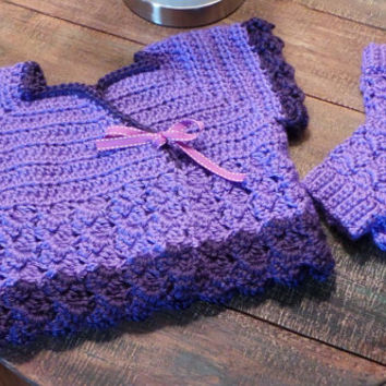 Girls size XS (4T - 6T) purple ballet cropped crossover dance wrap sweater & leg warmers set