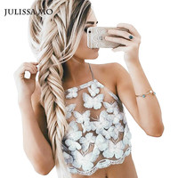 Summer Style Elegant Blue Butterfly Embroidery Lace CropTop Girls Backless Sexy Chic Camis Women Hollow Out Tank Tops