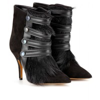 TAYLOR SUEDE AND FUR ANKLE BOOTS