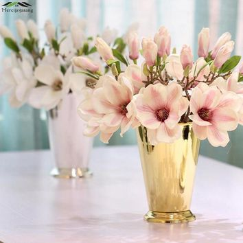 Flowers Vases Table Metal Silver Plated Vase Plant Basin Dried Floral Holder Wrought Iron Bucket for Home Decoration G020