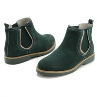 Dark Green Zip Gear Elastic Side Ankle Boots - Choies.com