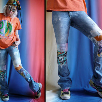 Patchy Distressed Grunge Jeans