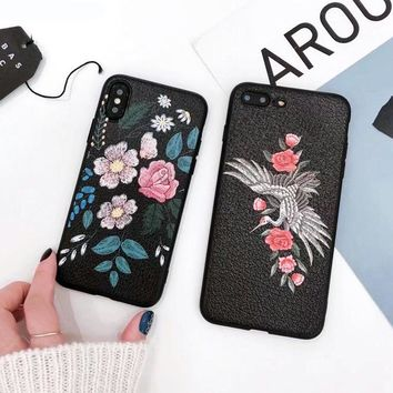 Embroided Flower / Crane iPhone Case