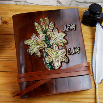Personalized Leather Notebook Journal Diary Baby Diary Travel Book Handmade Gift Flower Journal TiVergy Book