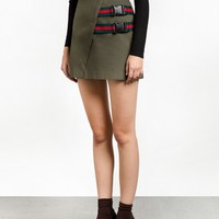 Clip Buckled Olive Mini Skirt