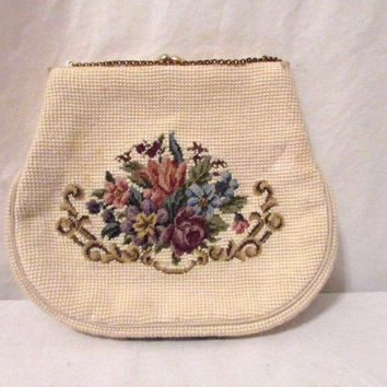 Vintage Needlepoint Purse Chain Signed and Dated 1969 Change Purse  Floral