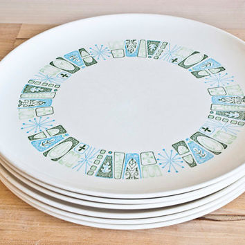 Atomic Era Taylor Smith and Taylor Jamaica Bay Dinner Plates, Set of 6 Colorcraft Plates, Made in USA