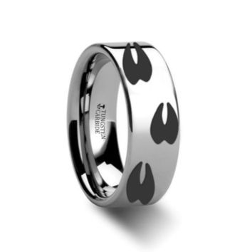 Thorsten Rings Deer Track Print Design Engraved Flat Tungsten Carbide Ring 4mm