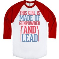 Gunpowder & Lead (Baseball Tee)-Unisex White/Red T-Shirt