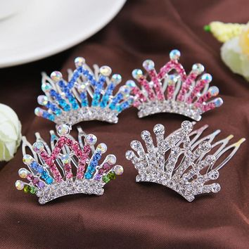 Little Girls Headband Headdress Cute Princess Crown Hair Comb With Diamond Crystal Jewelry For Kids Hair Clip Hair Accessories