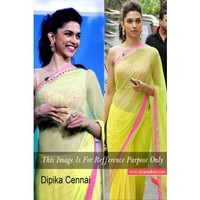 Deepika Padukone looks terrific in pink/yellow/lime saree at Chennai Express promotions. Hair piled hair; smoky eyes and little bindi were the finishing touches to her amazing look. Do you love it as much as we do? | Shop 'N kart