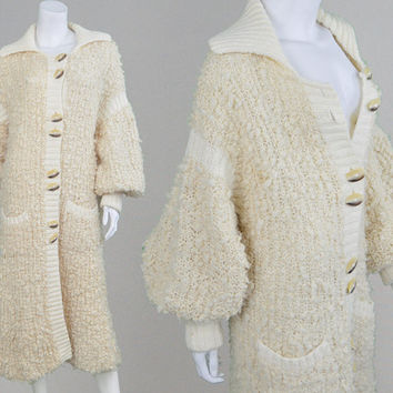 Vintage 60s 70s Wool Knitted Coat Boucle Knit Long Cardigan Balloon Sleeve Duster Coat Cream Wool Bobble Coat Avant Garde 1970s Cardigan