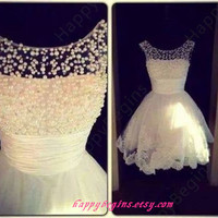 Short white pearl beaded lace prom dress 2014