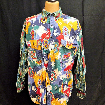 Vintage 90s Western Plains Crazy Pattern Aztec Bright Cowboy Shirt XL