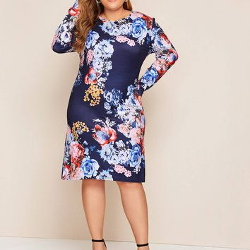Plus Size Floral Print Fitted Midi Dress