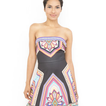 ANIKA TRIBAL STRAPLESS DRESS