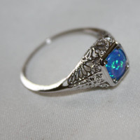 Vintage Filigree Art Deco Ring Sterling Opal Jewelry Statement Promise Engagement Ring