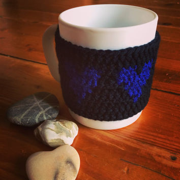 Blue cup cozy, Crochet coffee cup cozy, Blue mug warmer,Crochet heart mug sleeve,Blue tea cup cozy,Cute coffee lover gift,Blue mug cozy,Gift