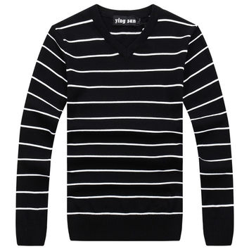2016 MEN'S SWEATERS PULLOVER NEW COLLECTION FOR SPRING WINTER COLLECTION BRAND CLOTHING  LEISURE STRIPED DESIGN COTTON FABRIC