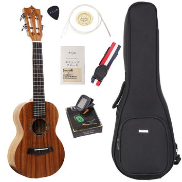 "ENYA Koa Concert Ukulele Bundle with Bag and Tuner Strap Spare Aquila Strings Polishing Cloth 2 Pins Installed Instructional Book KUC-70(Concert 23"")"