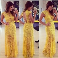 New Women's Sexy Embroidery Lace Skater Sleeveless Maxi Long Prom Wedding Dress = 1956613508