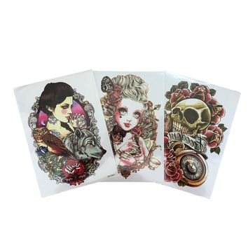 3Pcs Trendy Henna Tattoo Paste On The Body Art Skull Red Rose 3D Waterproof Temporary Tattoo Cool Stuff Transfer Tattoo Sleeve