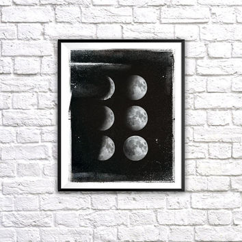Moon Phases, Wall Art Print, Inspirational Quote, Infinity and Beyond, Moons, Stars, Night Sky, Black and White, Vintage, Wall Home Decor