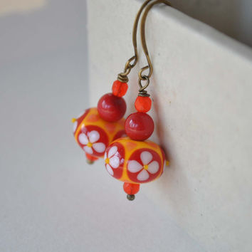 Red Orange Flower Earrings, Lampwork Glass Earrings, Floral Earrings, Bright Color Earrings