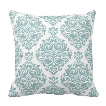 Mint,damask,modern,pattern,girly,trendy,chic,cute, Throw Pillows