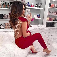 Glamaker Pearl chain long women jumpsuit romper Sexy backless club party jumpsuit playsuit Female elastic bodycon jumpsuit 2018