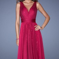 Sequined Chiffon Gown by La Femme