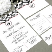 Monogram Damask | Modern Wedding Invitation Suite by RunkPock Designs | Victorian Dots Script Calligraphy Formal Invitation design | shown in black, white and coral